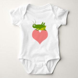 Cute Cricket on Heart Baby Bodysuit