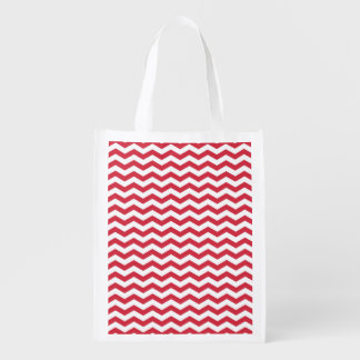 Cute Crimson Red and White Chevron Stripes Reusable Grocery Bag
