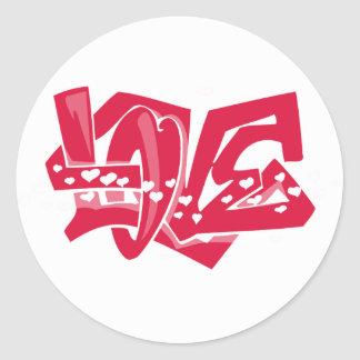 Cute Crimson Red Love Graffiti Round Sticker