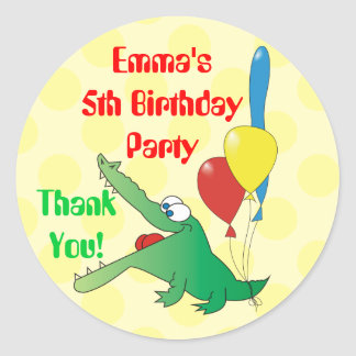 Cute Crocodile Kids Birthday Thank You Stickers