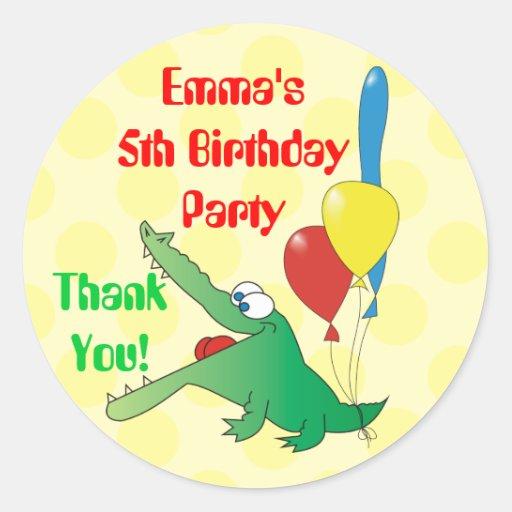 Cute Crocodile Kids Birthday Thank You Stickers