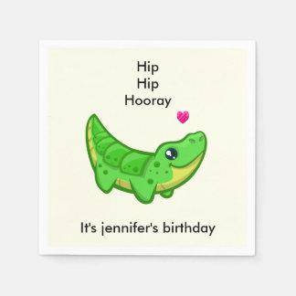 Cute crocodile love cartoon girl name birthday paper napkin