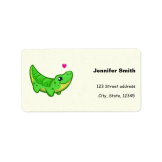 Cute crocodile love kawaii cartoon address label