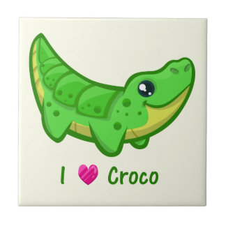 Cute crocodile love kawaii cartoon baby small square tile