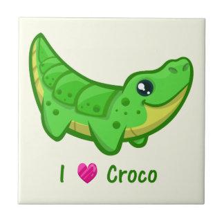 Cute crocodile love kawaii cartoon baby small square tile