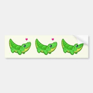 Cute crocodile love kawaii cartoon bumper sticker