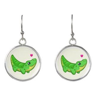 Cute crocodile love kawaii cartoon girl earrings