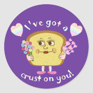 Cute Crust on You Valentine's Day Pun Classic Round Sticker