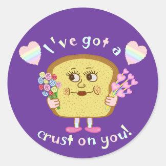 Cute Crust on You Valentine's Day Pun Round Sticker