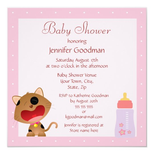 Cute Crying Kitten Pink Baby Shower Card