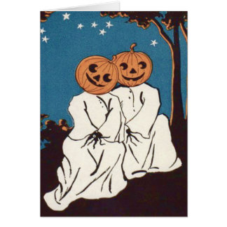 Cute Cuddle Pumpkin Jack O' Lantern Ghost Greeting Card