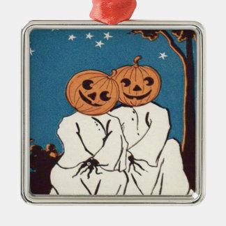 Cute Cuddle Pumpkin Jack O' Lantern Ghost Silver-Colored Square Decoration