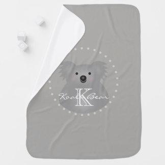 Cute Cuddly Australia Baby Koala Bear Monogram Baby Blanket
