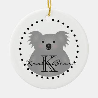 Cute Cuddly Australia Baby Koala Bear Monogram Ceramic Ornament