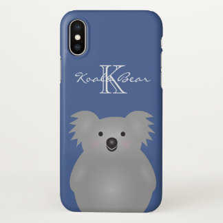 Cute Cuddly Australia Baby Koala Bear Monogram iPhone X Case