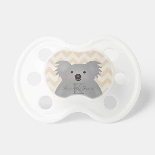 Cute Cuddly Australia Baby Koala Bear Monogram Pacifiers