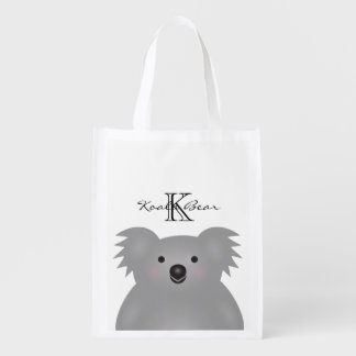 Cute Cuddly Australia Baby Koala Bear Monogram Reusable Grocery Bag
