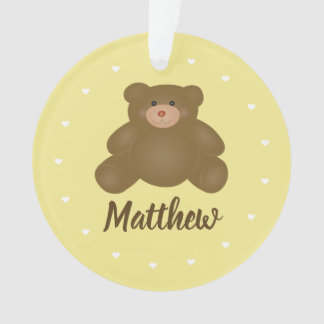 Cute Cuddly Brown Baby Grizzly Teddy Bear Monogram Ornament