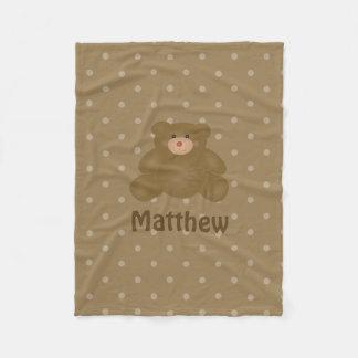 Cute Cuddly Brown Baby Teddy Bear And Polka Dots Fleece Blanket