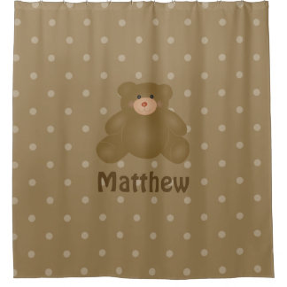 Cute Cuddly Brown Baby Teddy Bear And Polka Dots Shower Curtain