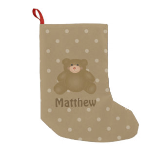 Cute Cuddly Brown Baby Teddy Bear And Polka Dots Small Christmas Stocking
