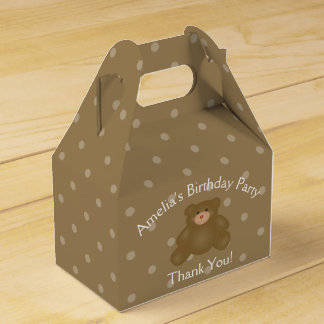 Cute Cuddly Brown Baby Teddy Bear Birthday Party Favour Box