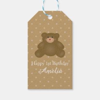 Cute Cuddly Brown Teddy Bear Baby Girl Birthday Gift Tags