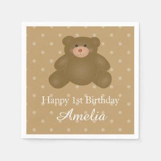 Cute Cuddly Brown Teddy Bear Baby Girl Birthday Paper Serviettes