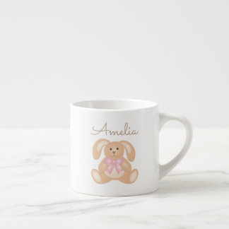 Cute Cuddly Pink Ribbon Bunny Rabbit Add Your Name Espresso Cup