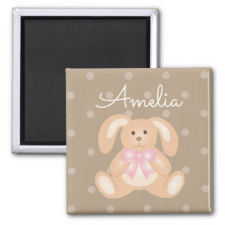 Cute Cuddly Pink Ribbon Bunny Rabbit Add Your Name Magnet