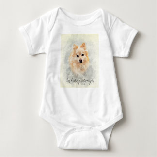 Cute cuddly pomeranian dog baby bodysuit