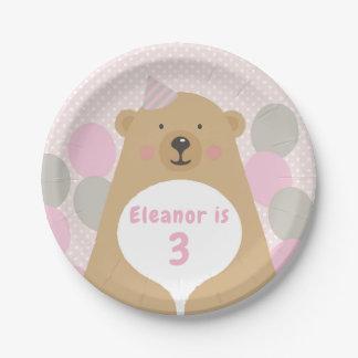 Cute Cuddly Teddy Bear Birthday Paper Plate