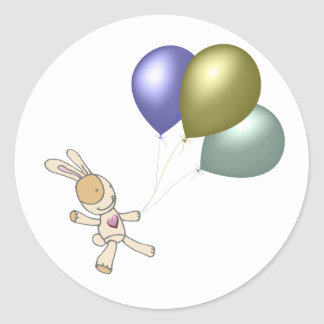 Cute Cuddly Toy and Balloons Art Classic Round Sticker
