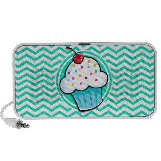 Cute Cupcake; Aqua Green Chevron iPhone Speakers