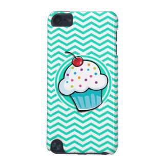 Cute Cupcake; Aqua Green Chevron iPod Touch (5th Generation) Cover