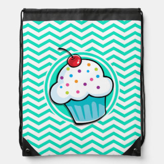 Cute Cupcake Aqua Green Chevron Drawstring Bag