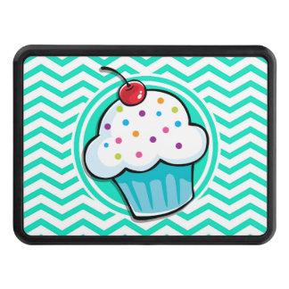 Cute Cupcake; Aqua Green Chevron Trailer Hitch Covers