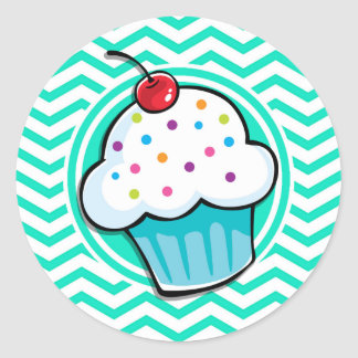 Cute Cupcake Aqua Green Chevron Sticker