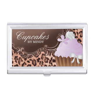 Cute Cupcake Bakery Vintage Leopard Business Card Holder