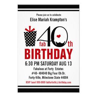 Cute Cupcake Black and Red 40th Birthday Custom Invitations