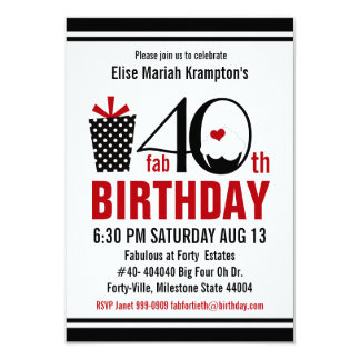 Cute Cupcake Black and Red 40th Birthday 3.5x5 Paper Invitation Card