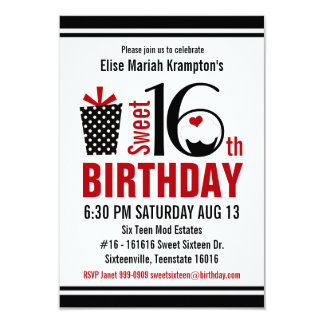 Cute Cupcake Black and Red Sweet 16 Birthday Announcement