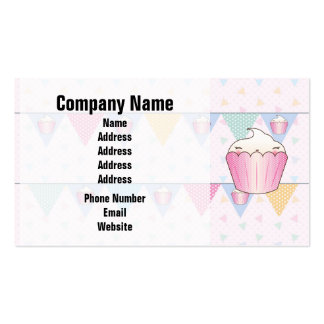 Cute Cupcake Bunting Pattern Business Card Templates