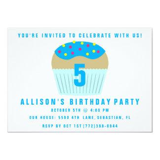 Cute Cupcake Five 5th Birthday Party Invite