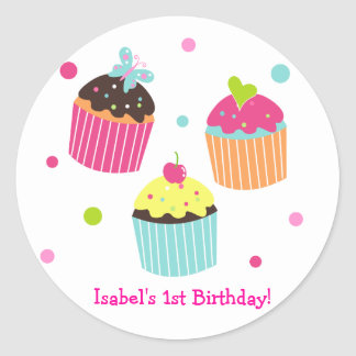 Cute Cupcake Kid personalized name stickers label