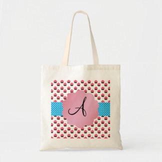 Cute cupcake monogram tote bag