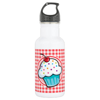 Cute Cupcake on Red and White Gingham 532 Ml Water Bottle