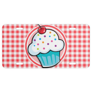 Cute Cupcake on Red and White Gingham License Plate