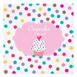 Cute Cupcake Party Invite Polka Dots Pink