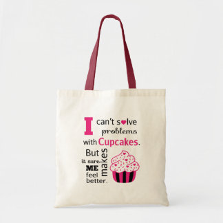 Cute Cupcake quote, Happiness Budget Tote Bag